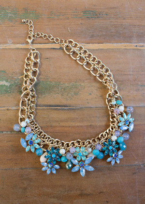 Flowers and More Statement Necklace Blue CLEARANCE