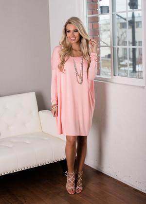 Today Is the Day Piko Tunic Dress Peach