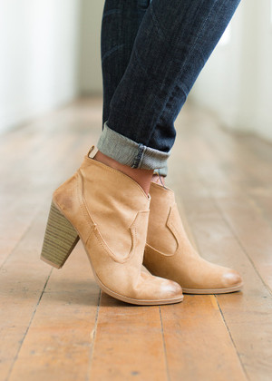Oh Happy Day Suede Booties Toffee CLEARANCE