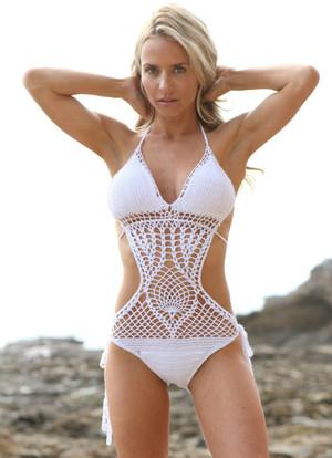 White Crochet Monokini CLEARANCE