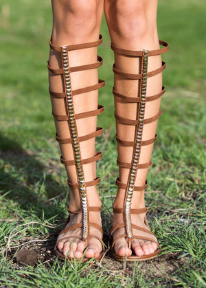 Two Steps Forward, One Step Back Brown Gladiator Sandals