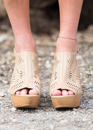Rays and Waves Wedges Tan CLEARANCE