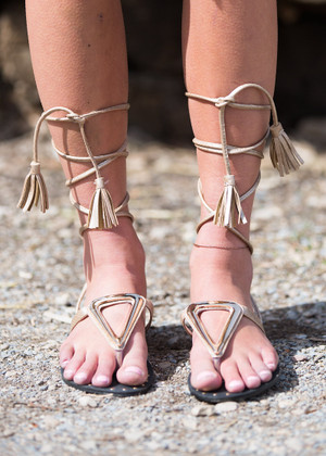 All Tied Up Gladiator Sandals Beige