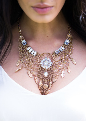 Chained Together Bib Statement Necklace CLEARANCE