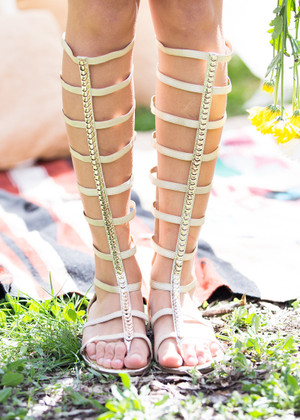 Two Steps Forward,  One Step Back Gold Gladiator Sandals