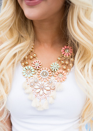 In a Daze Floral Tassel Statement Necklace