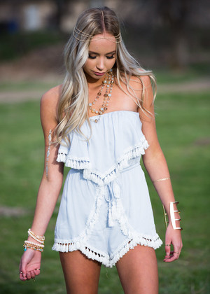 Nothing to Lose Romper Light Blue CLEARANCE