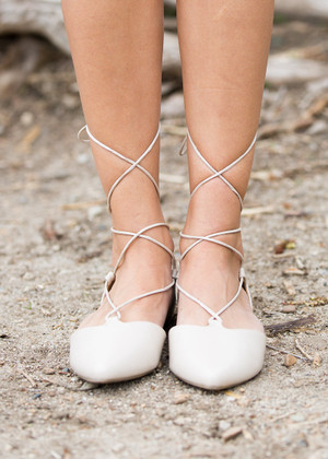 Tie Me Up Ballerina Gladiator Sandals Light Taupe CLEARANCE