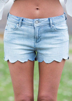 I Like the Sound of That Denim Scallop Shorts CLEARANCE