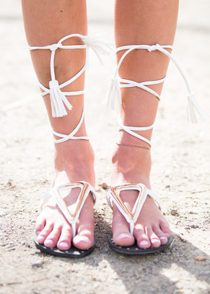 All Tied Up Gladiator Sandals White CLEARANCE