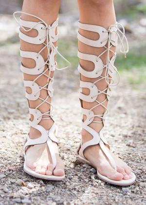 I'll Take a Walk Gladiator Sandals Beige CLEARANCE