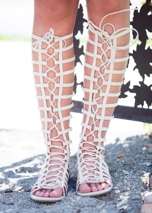 Caught Up Nude Suede Gladiator Sandals