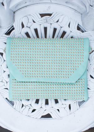 Studded Fold Over Clutch Mint