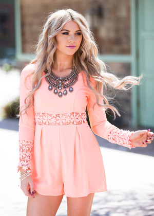 With My Whole Heart Neon Coral Lace Romper CLEARANCE