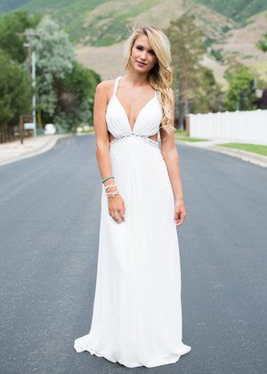 Right Here and Vow Maxi Dress White CLEARANCE
