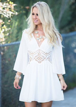 Sweet Pea White Crochet Dress