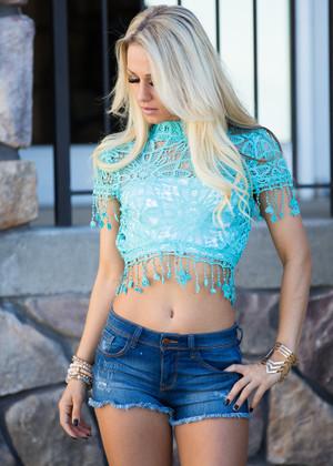 Azalea Crochet Top Turquoise CLEARANCE