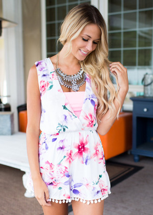 Hold My Breath White Floral Romper CLEARANCE