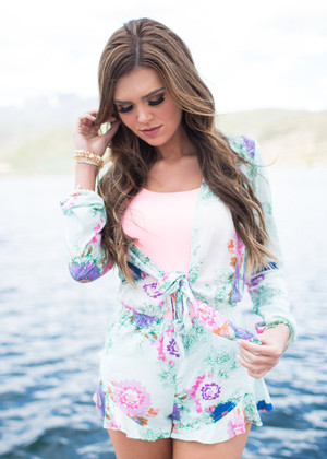 A Chance for Love Romper Mint CLEARANCE