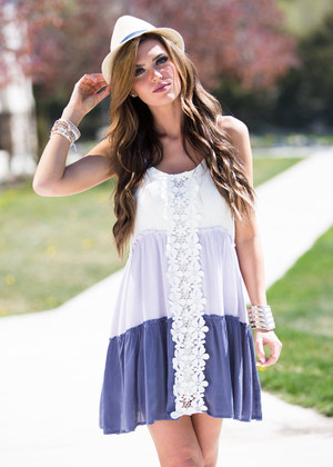 Neutrally in Love Tier Lace Dress Lavender