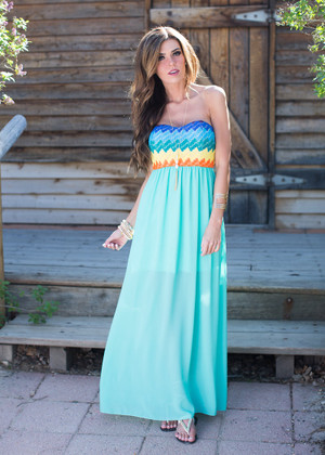 Somewhere Over the Rainbow Maxi Dress Mint CLEARANCE