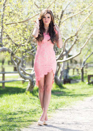 Perfectly Poised Lace Dress Salmon Pink