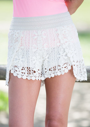 All I Know Crochet Shorts Beige CLEARANCE