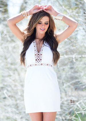Alice Laced Trim Dress White CLEARANCE