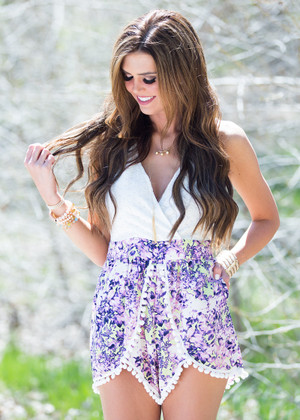 Delighted Romper Ivory/Purple CLEARANCE