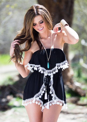 Baby I'm In Love With You Romper Black CLEARANCE