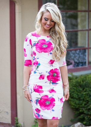 Posh Your Luck Floral 3/4 Dress White/Pink