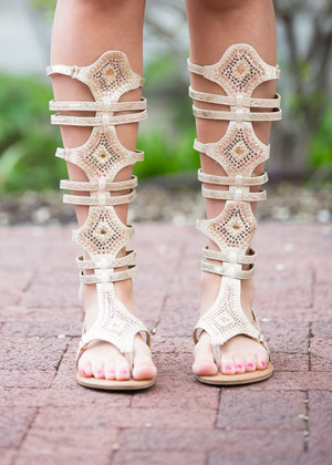 Rhinestoned Glamour Gladiator Sandals CLEARANCE
