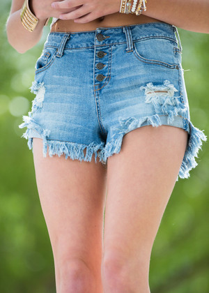 Washed Out Distressed Jean Shorts CLEARANCE