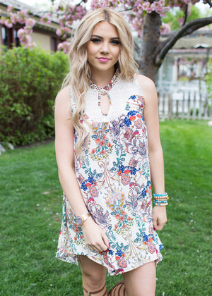 Graceful Greeting Cream Floral Tank Dress CLEARANCE