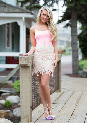 Pieces of Me Lace Floral Skirt Taupe CLEARANCE