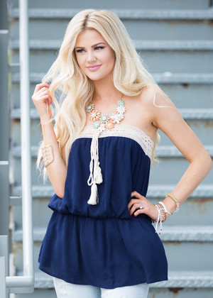 Crochet Empire Waist Sleeveless Top Navy CLEARANCE