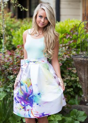 Watercolor Wonder Midi Skirt Ivory