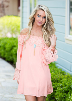 I Want it That Way Peach Off Shoulder Lace Dress