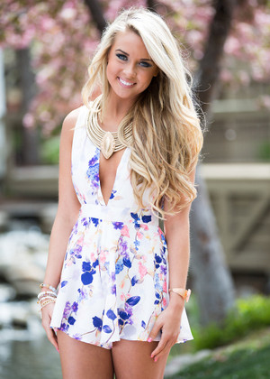 Back to Blossoms Floral Tank Romper CLEARANCE