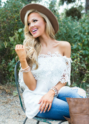 Best Day Ever Off Shoulder Top White