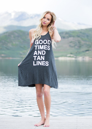 Good Times and Tan Lines Tank Dress Charcoal