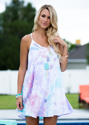 Watercolor Tie Dye Spaghetti Strap Dress