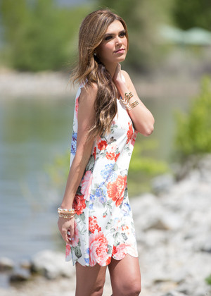 Ever So Scallopy Floral Tank Dress Ivory