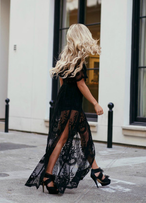 To Die For Gypsy Lace Sheer Maxi Dress Black