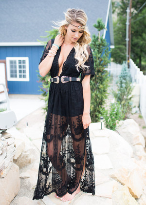 To Die For Gypsy Lace Sheer Maxi Dress White Black