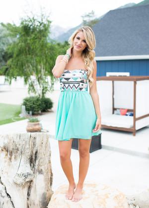 Remind Me Aztec Sequin Dress Mint