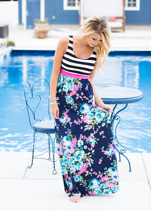 We're Young and Beautiful Floral Stripe Maxi