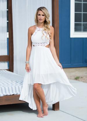 Leah Crochet High Low Dress White