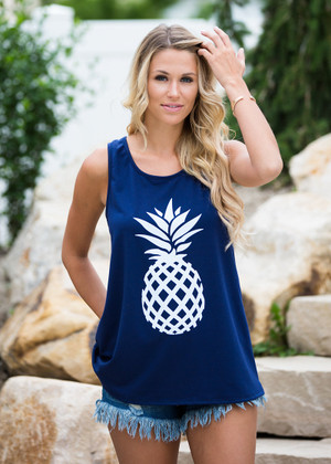 I Pine For You Pineapple Tank Navy CLEARANCE