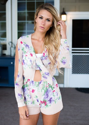 Summertime Gladness Floral Romper Nude CLEARANCE